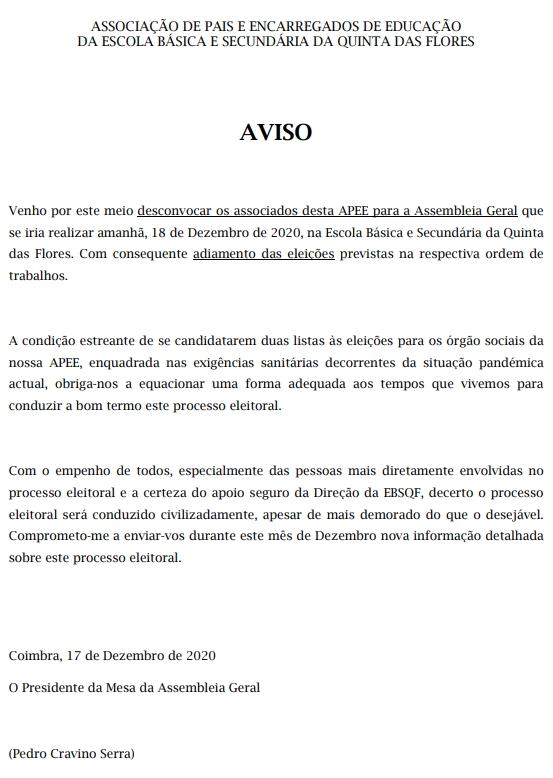 Desconvocatória da Assembleia Geral da APEE-EBSQF