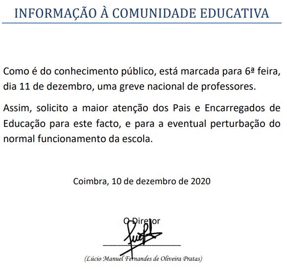 Greve dos professores – 11 de dezembro (Informação à comunidade educativa)