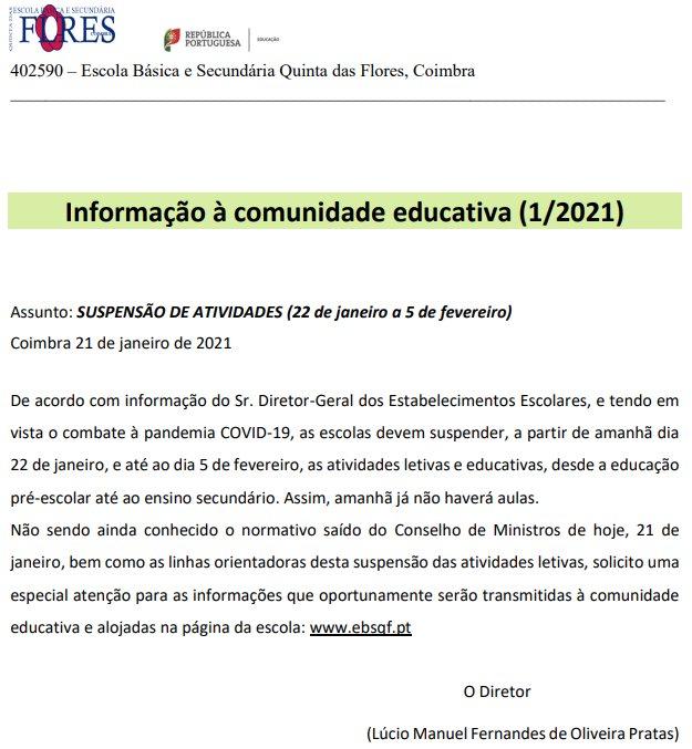 Informação à Comunidade Educativa 1/2021