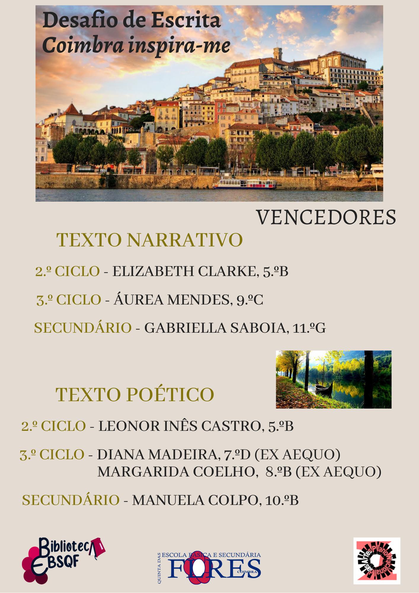"""Desafio de Poesia """"Coimbra inspira-me"""" – Vencedores"""