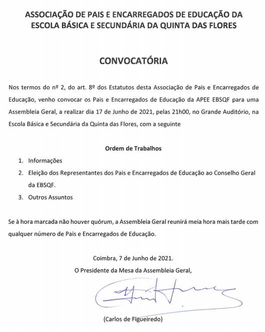 Convocatória – Assembleia Geral da APEE-EBSQF (17 de junho)